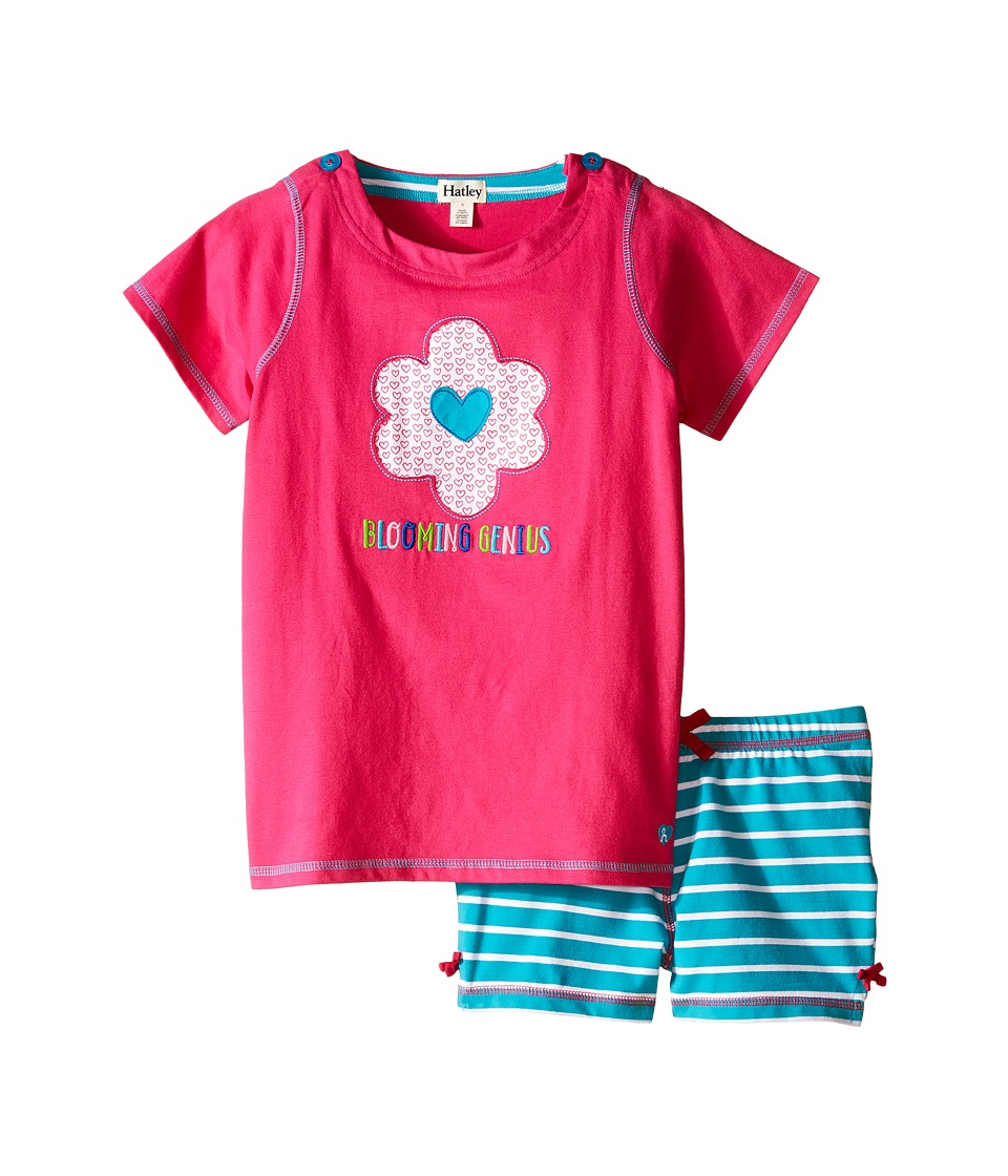 Hatley Kids - Flower Hearts Button Tee Shorts Set (Toddler/Little Kids/Big Kids) (Pink) Girl's Pajama Sets
