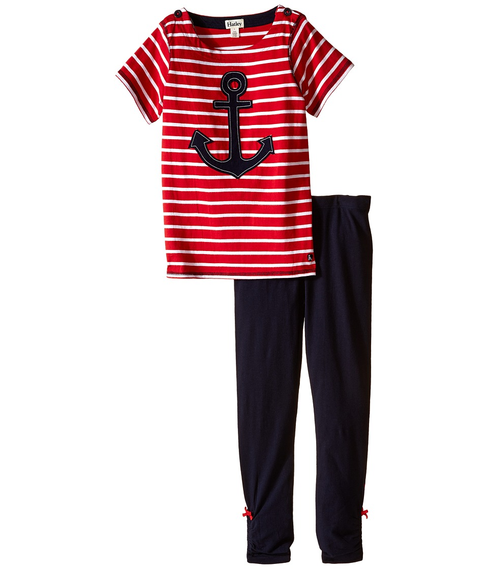 Hatley Kids - Anchors Button Tee Leggings Set (Toddler/Little Kids/Big Kids) (Red) Girl's Active Sets