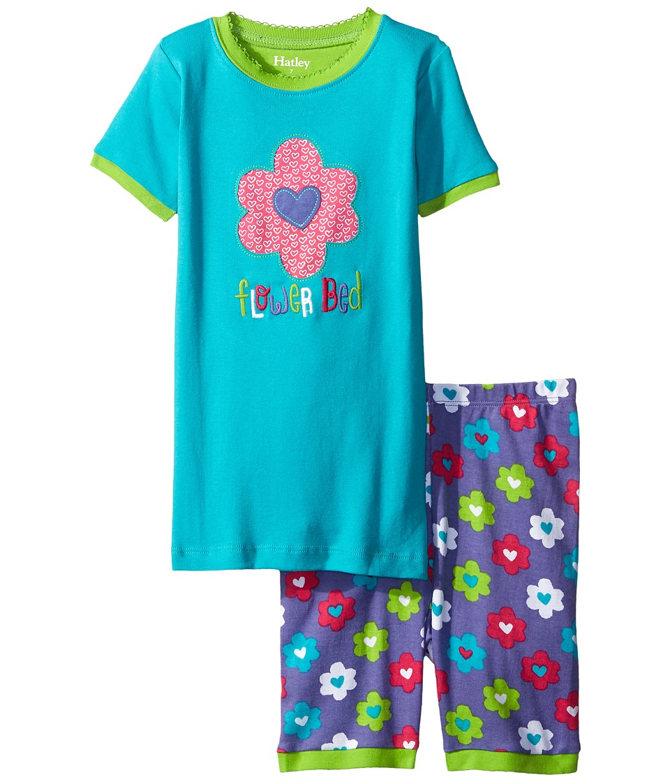 Hatley Kids - Flower Hearts Short PJ Set (Toddler/Little Kids/Big Kids) (Blue) Girl's Pajama Sets
