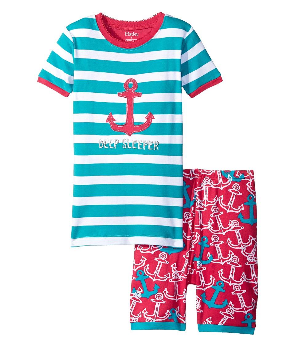 Hatley Kids - Painted Anchors Short PJ Set (Toddler/Little Kids/Big Kids) (Light Blue) Girl's Pajama Sets