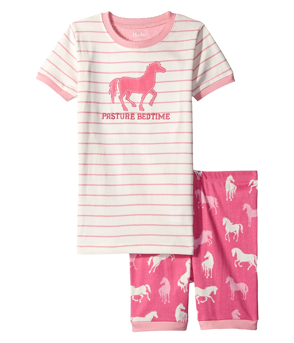 Hatley Kids - Classic Horses Short PJ Set (Toddler/Little Kids/Big Kids) (Pink) Girl's Pajama Sets
