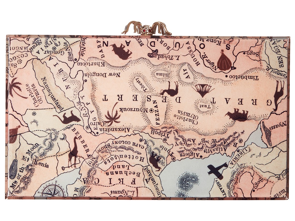 Charlotte Olympia - Printed Pandora (Map Print) Clutch Handbags