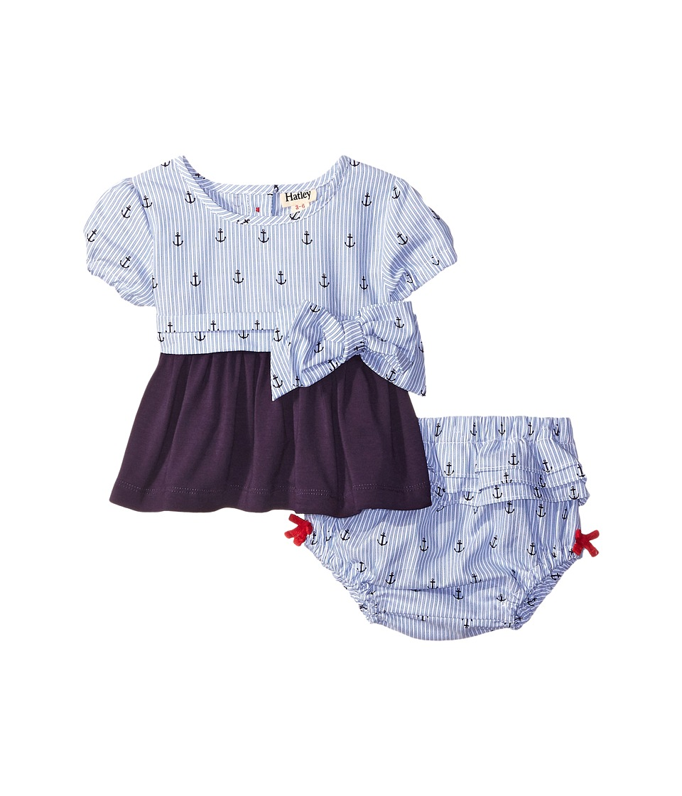 Hatley Kids - Nautical Tie Tunic Ruffle Bloomer (Infant) (Blue) Girl's Pajama Sets