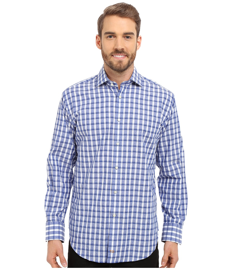 Thomas Dean & Co. - Long Sleeve Woven Textured Check (Blue) Men's Long Sleeve Button Up