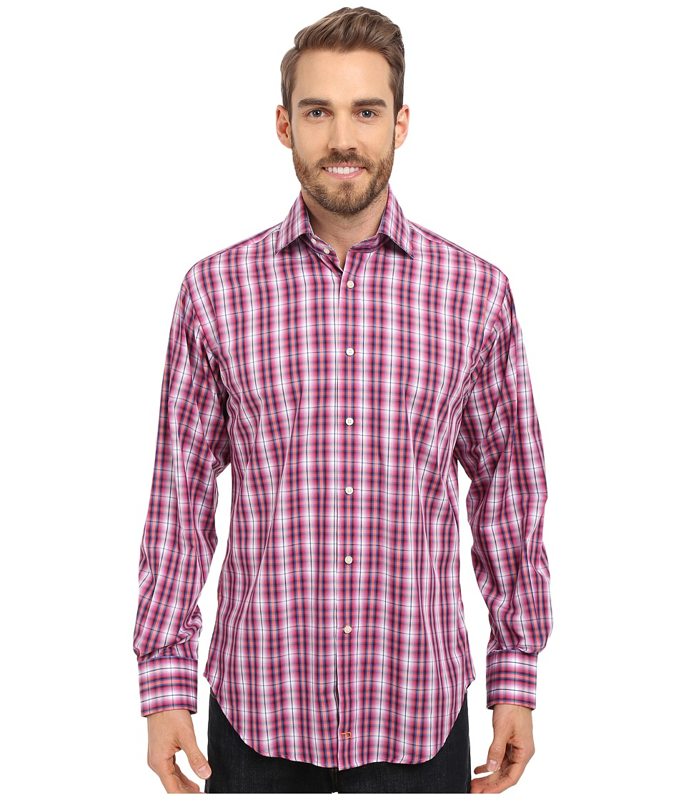 Thomas Dean & Co. - Long Sleeve Woven Poplin Plaid (Orange) Men's Long Sleeve Button Up