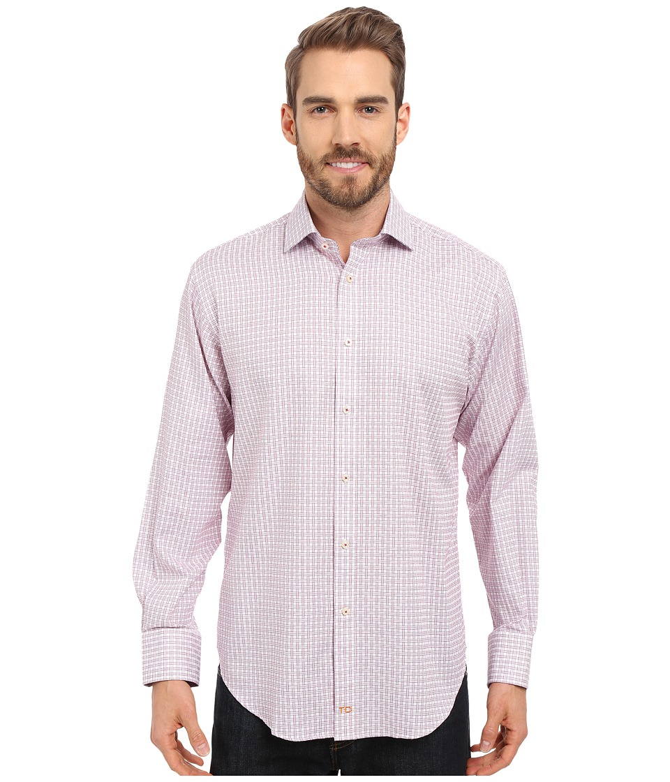 Thomas Dean & Co. - Long Sleeve Woven Jacquard Check (Purple) Men's Long Sleeve Button Up