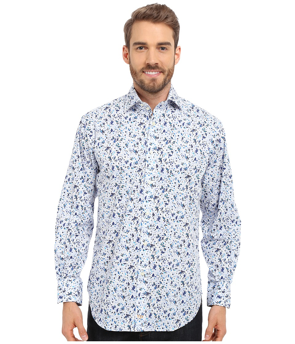 Thomas Dean & Co. - Long Sleeve Woven Poplin Print (Blue) Men's Long Sleeve Button Up