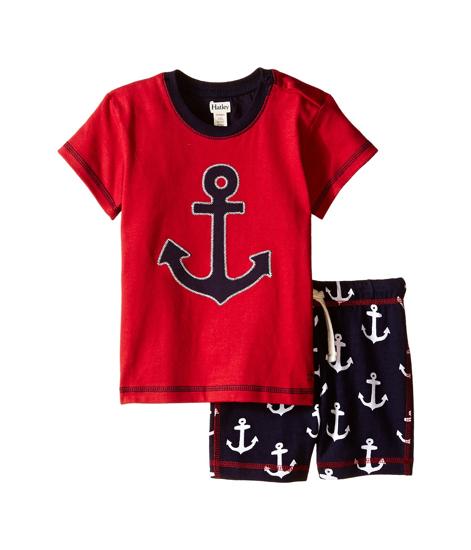 Hatley Kids - Retro Nautical Tee Drawcord Shorts Set (Infant) (Red) Boy's Pajama Sets