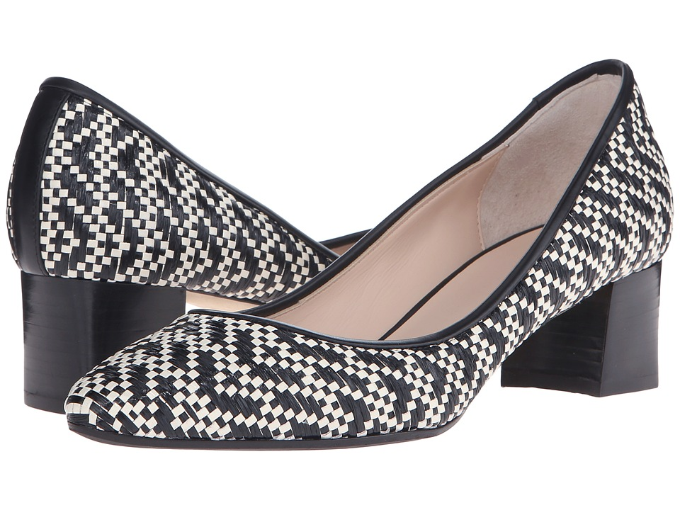 Aquatalia - Pheobe (Black/White Raffia/Calf Woven) Women's 1-2 inch heel Shoes