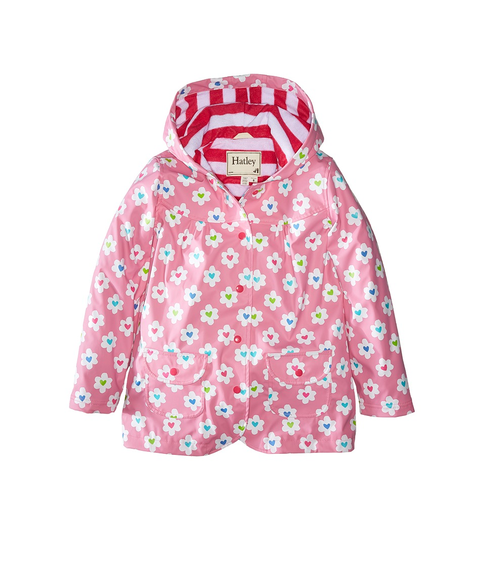 Hatley Kids - Flower Heart Garden Raincoat (Toddler/Little Kids/Big Kids) (Pink) Girl's Coat