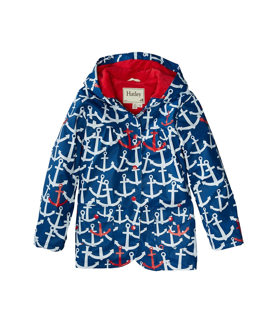Hatley Kids - Scattered Anchors Raincoat (Toddler/Little Kids/Big Kids) (Blue) Girl's Coat