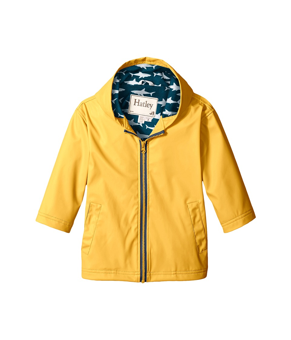 Hatley Kids - Yellow Great White Sharks Splash Jacket (Toddler/Little Kids/Big Kids) (Yellow) Boy's Coat