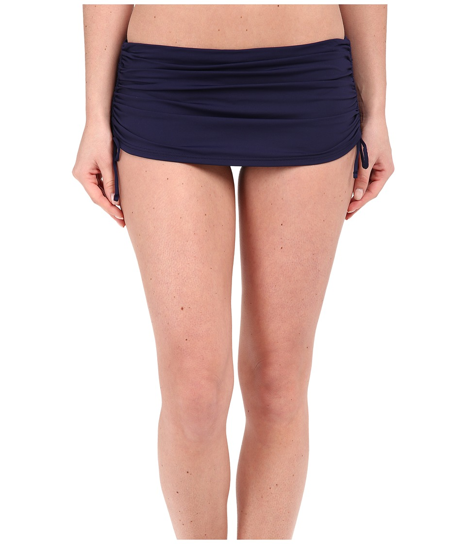 Tommy Bahama - Pearl Side Shirred Skirted Hipster (Mare Navy) Women's Swimwear