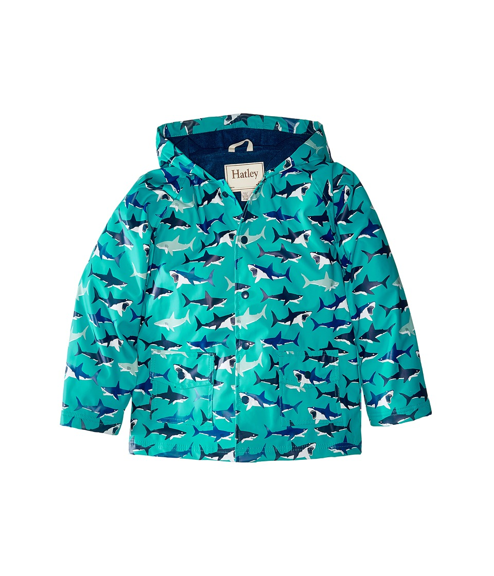 Hatley Kids - Great White Sharks Raincoat (Toddler/Little Kids/Big Kids) (Blue) Boy's Coat
