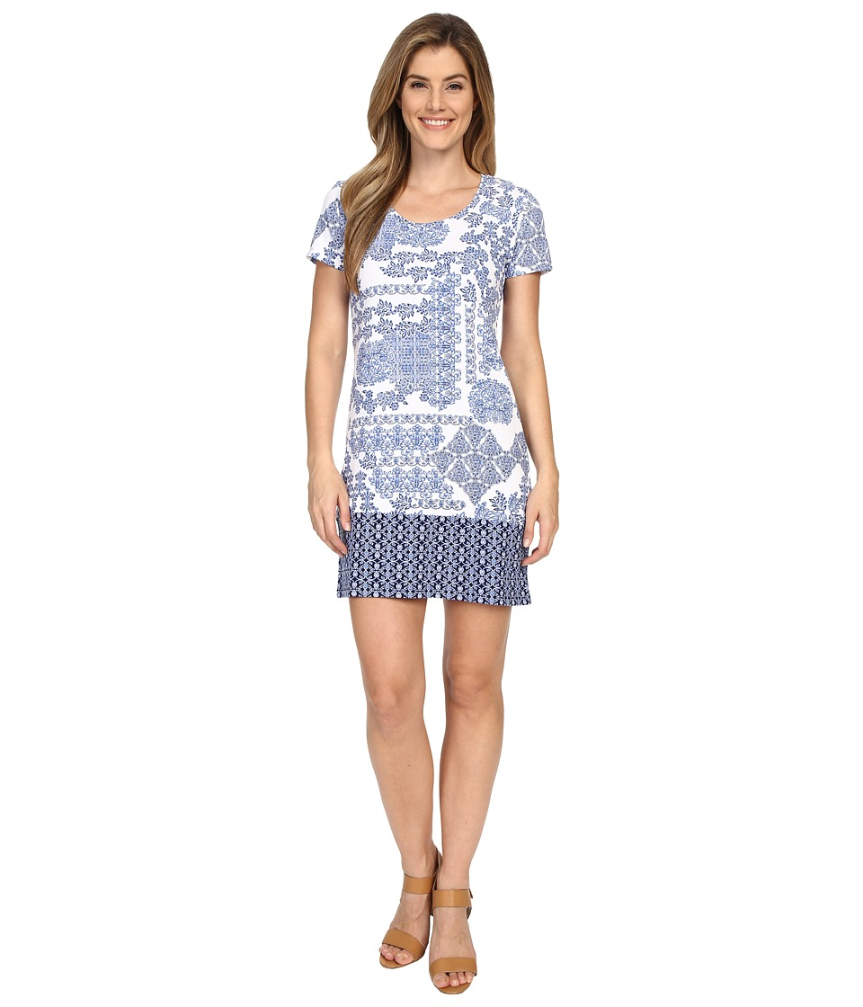 Tommy Bahama - Stamped Medallion T-Shirt Dress Cover-Up (Blue Zaffiro/White) Women's Swimwear