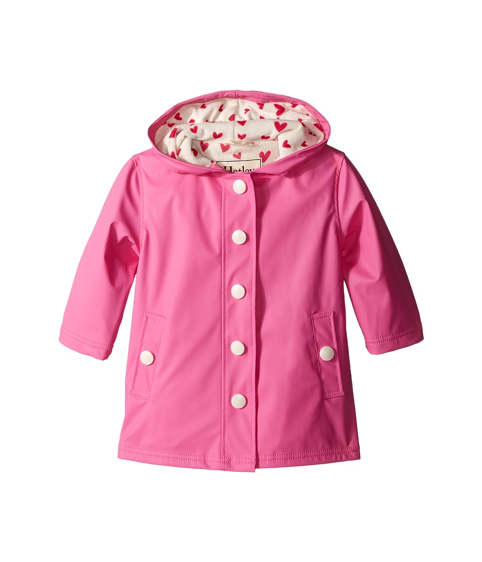 Hatley Kids - Pink Cream Hearts Splash Jacket (Toddler/Little Kids/Big Kids) (Pink) Girl's Coat
