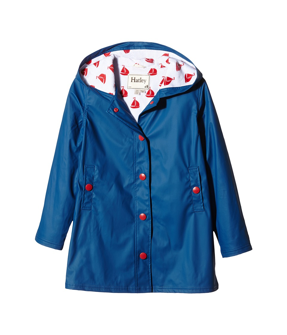 Hatley Kids - Navy Red Sailboats Splash Jacket (Toddler/Little Kids/Big Kids) (Blue) Girl's Coat