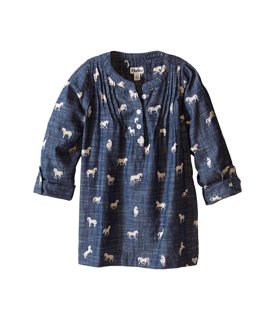 Hatley Kids - Flower Horses Roll Up Sleeve Tunic (Toddler/Little Kids/Big Kids) (Blue) Girl's Blouse