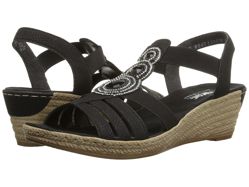 Rieker - 62459 Fanni 59 (Black) Women's Wedge Shoes