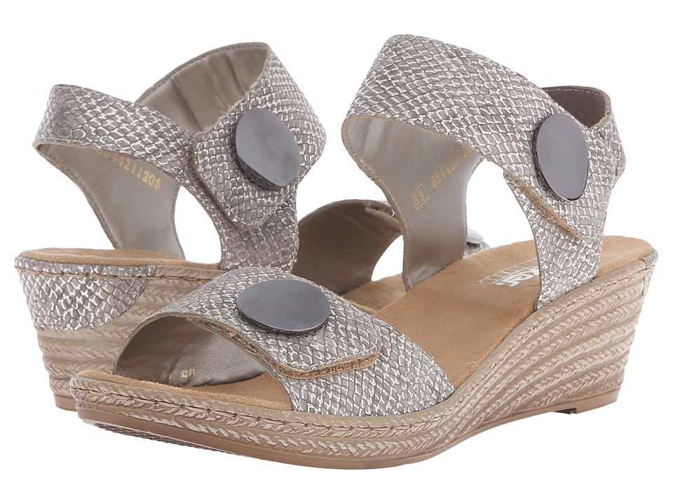 Rieker - 62460 Fanni 60 (Fango Silver) Women's Wedge Shoes
