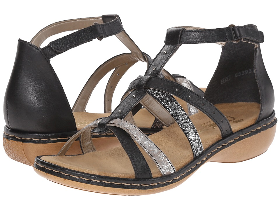 Rieker - 65970 Regina 70 (Black/Silver/Altsilber) Women's Sandals