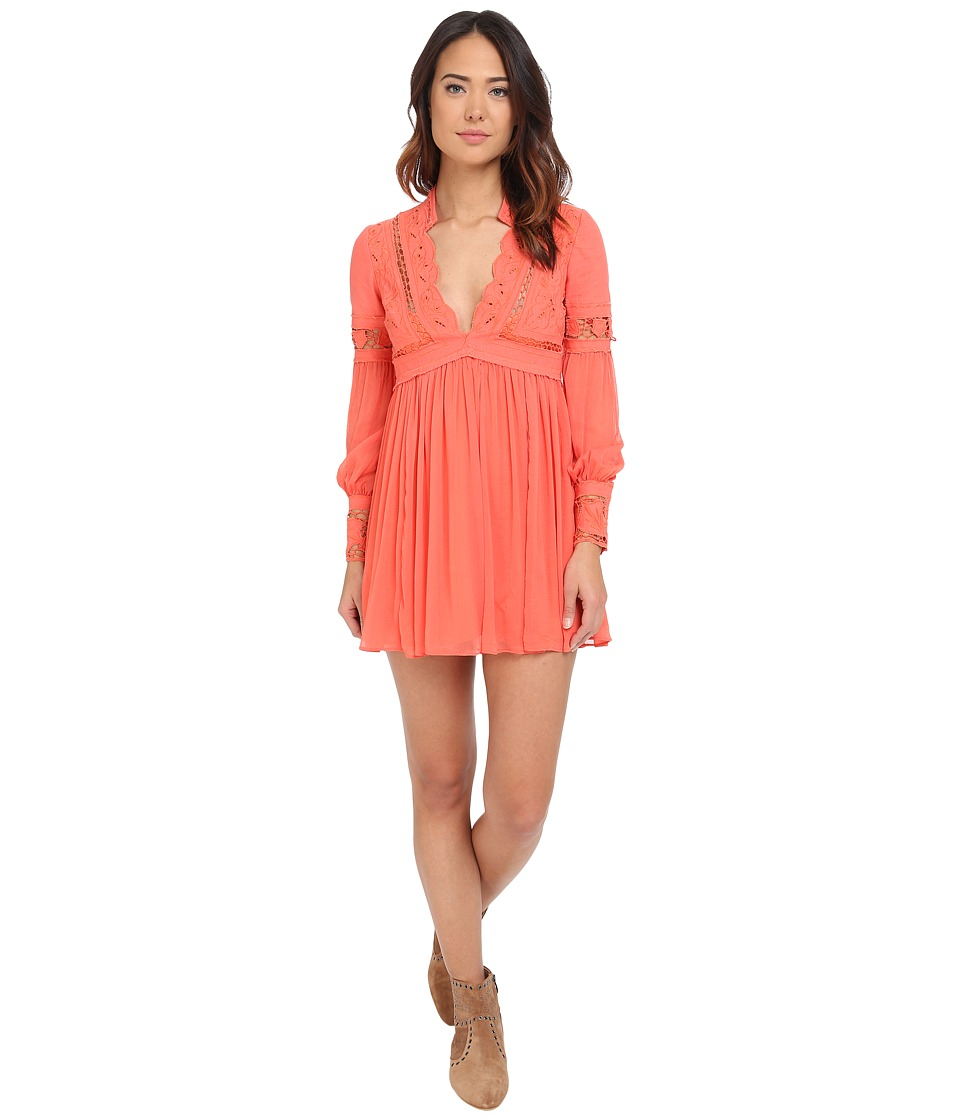 Free People - In Dreamland Mini Dress (Coral) Women's Dress