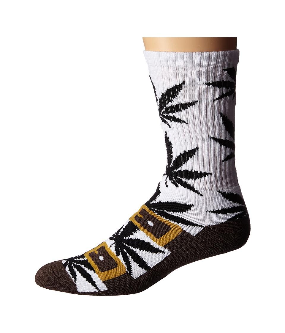 HUF - Recreational Plantlife Crew Sock (Brown Birk) Men's Crew Cut Socks Shoes