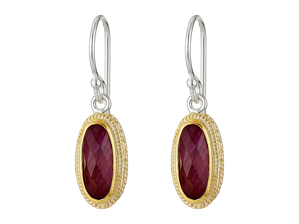 Anna Beck - Ruby Oval Stone Drop Earrings (Sterling Silver/18K Gold Vermeil) Earring