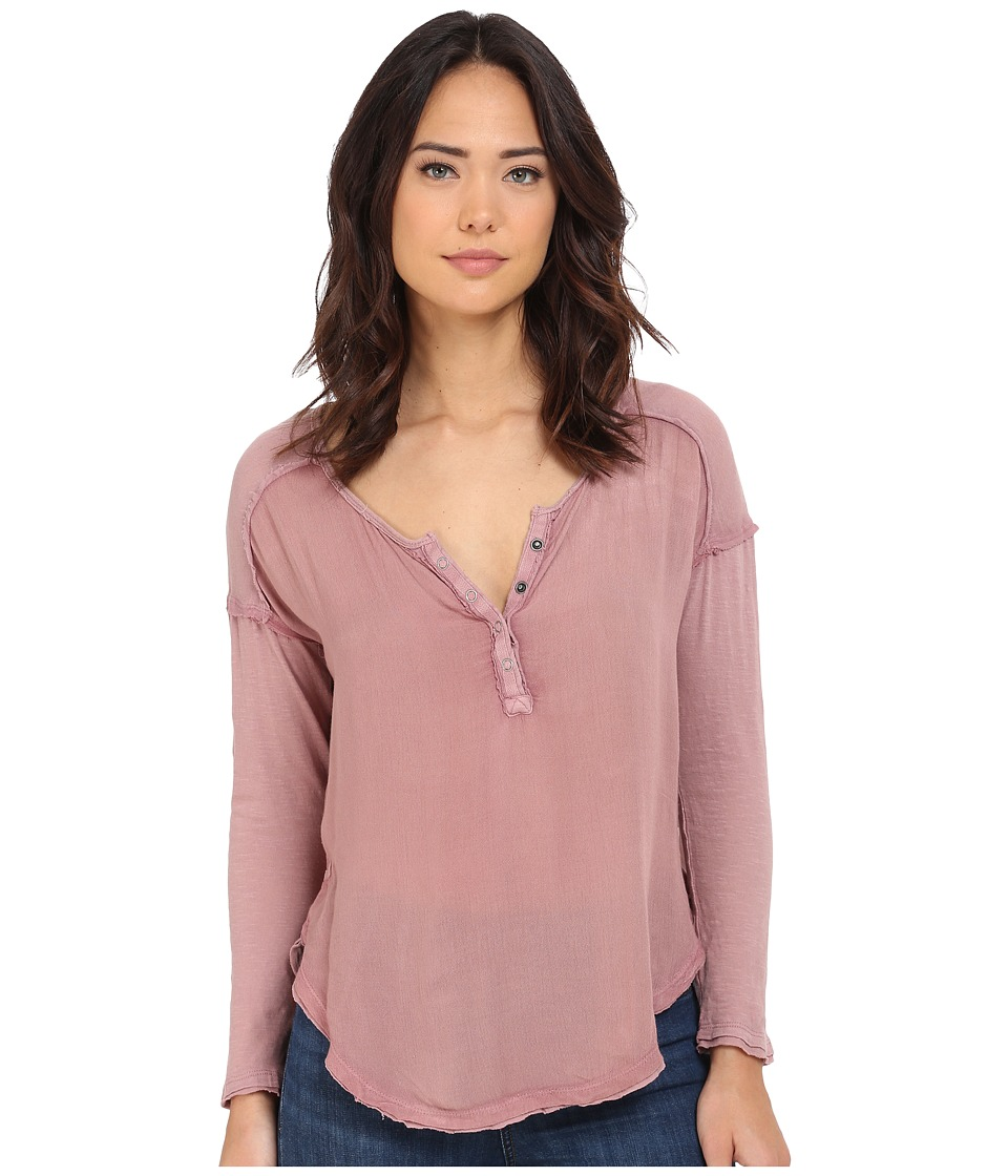 Free People - Sunday Henley (Elderberry) Women's Long Sleeve Pullover