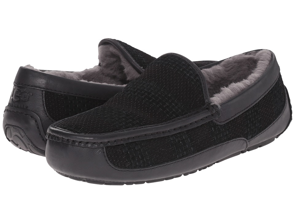 UGG - Ascot Weave (Black Suede) Men's Slip on Shoes