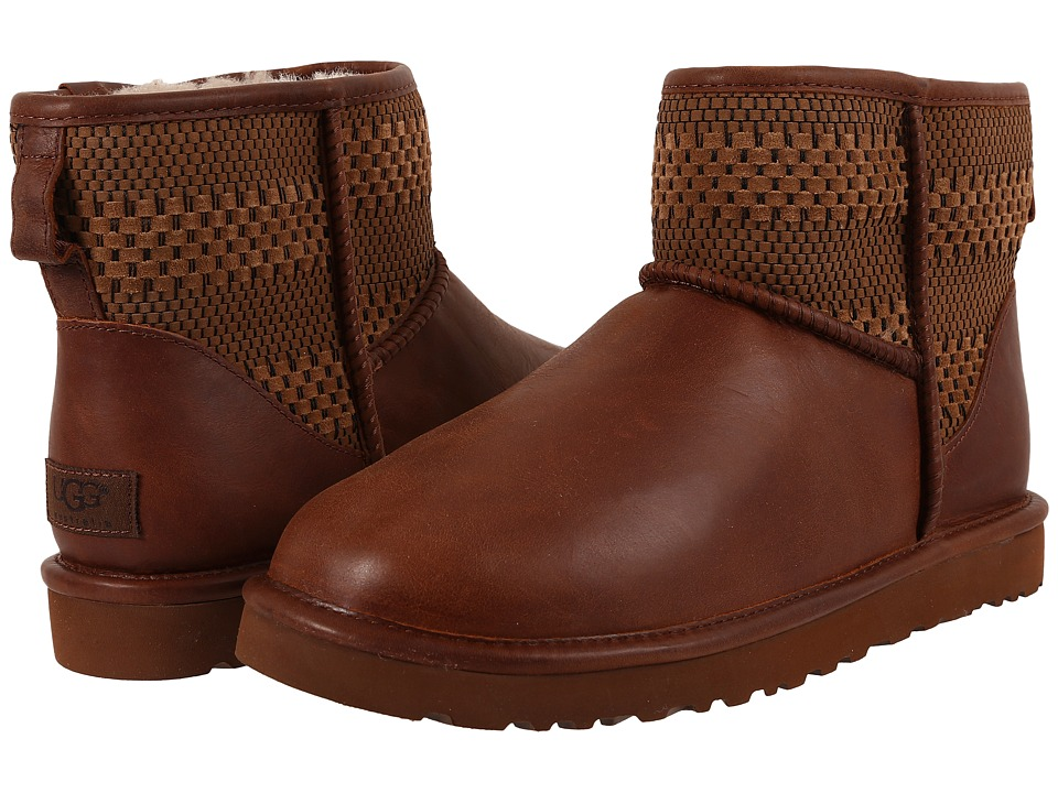 UGG - Classic Mini Weave (Chestnut Suede/Textile/Leather) Men's Cold Weather Boots
