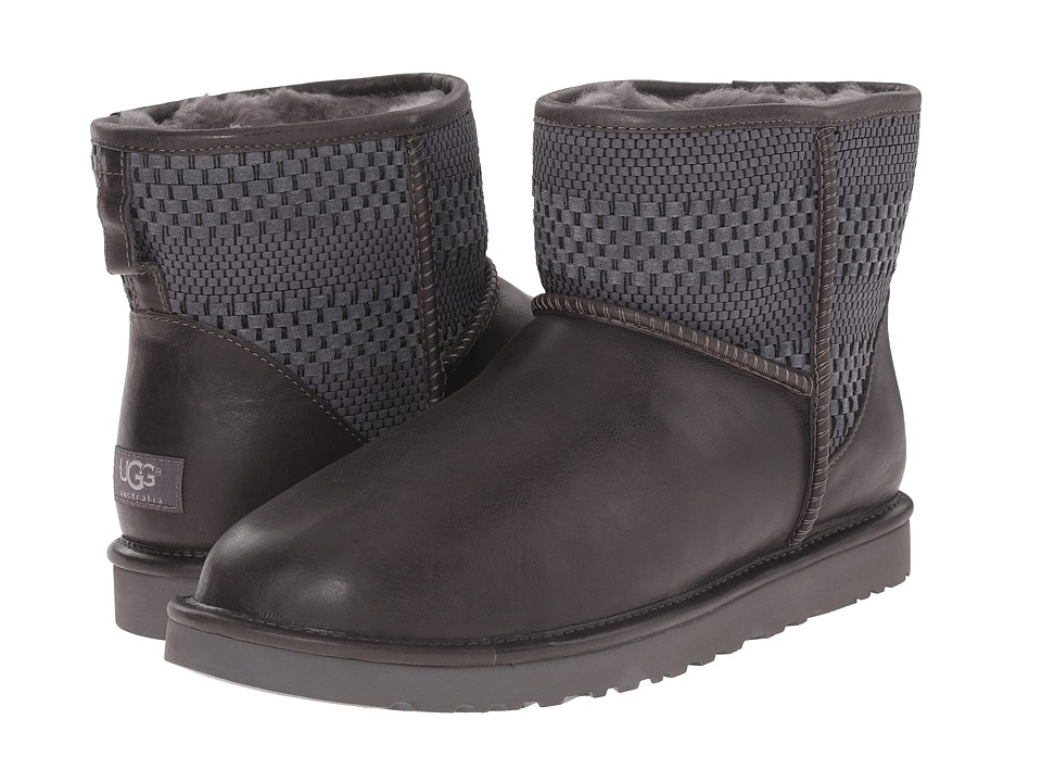 UGG - Classic Mini Weave (Charcoal Suede/Textile/Leather) Men's Cold Weather Boots