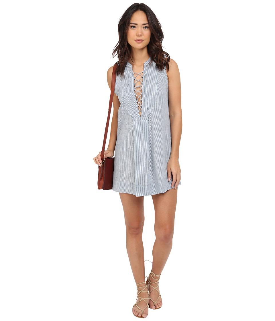 Free People - Twill Poppin Mini Dress (Chambray Combo) Women's Dress