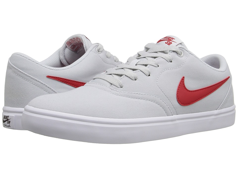 Nike SB - Check Solar Canvas (Pure Platinum/University Red/White) Men's Skate Shoes