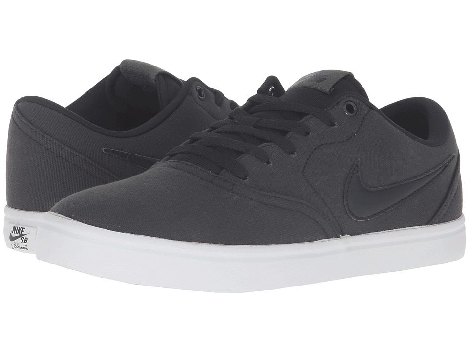 Nike SB - Check Solar Canvas Premium (Black/Black/Cargo Khaki) Men's Skate Shoes