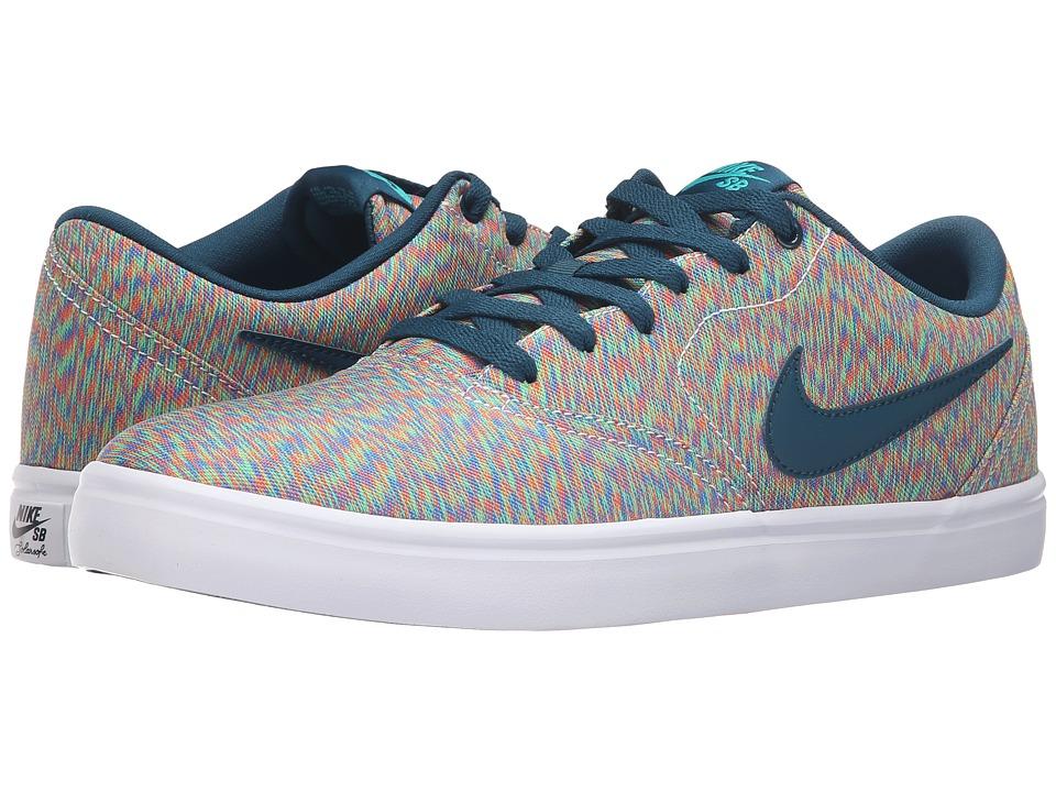 Nike SB - Check Solar Canvas Premium (Multicolor/Midnight Turquoise) Men's Skate Shoes