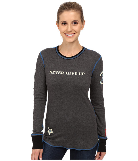 Alp-n-Rock - Never Give Up Shirt (Heather Black) Women's Clothing