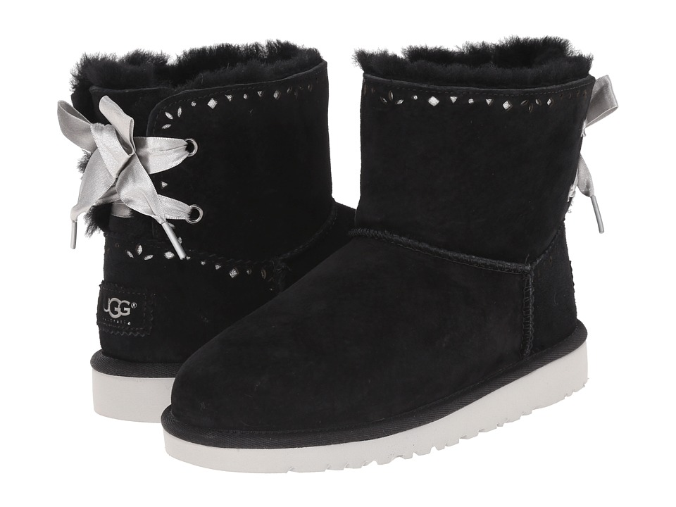 UGG Kids - Dixi Flora Perf (Big Kid) (Black Suede) Girls Shoes