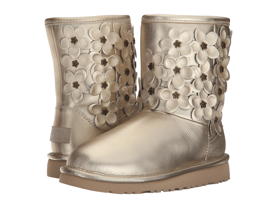UGG Kids - Classic Short Flora (Little Kid/Big Kid) (Soft Gold Leather) Girls Shoes