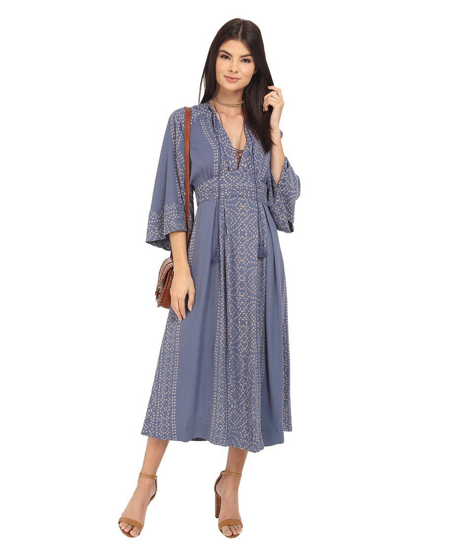 Free People - Modern Kimono Maxi Dress (Denim Combo) Women's Dress