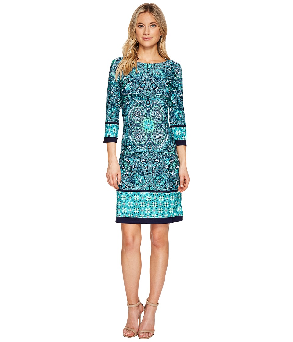 London Times - Long Sleeve Printed Dress (Teal) Women's Dress