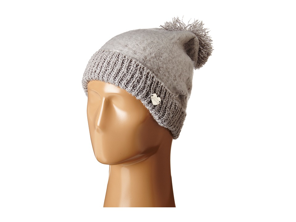Betsey Johnson - Fuzzy Logic Cuff Hat (Grey) Beanies