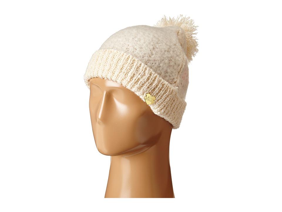 Betsey Johnson - Fuzzy Logic Cuff Hat (Ivory) Beanies