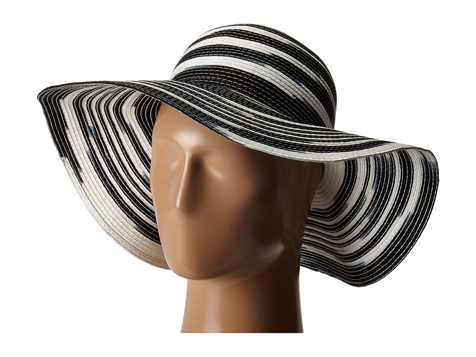 Michael Stars - Swirl Striped Floppy Hat (Black) Caps