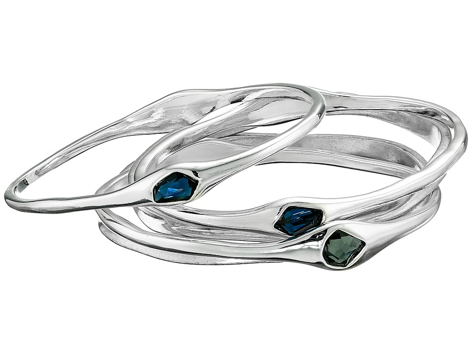 Robert Lee Morris - Shiny Silver Wide Hinge Bangle Bracelet (Blue/Black Diamond) Bracelet