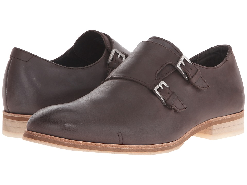 Calvin Klein - Faber (Dark Brown Washed Leather) Men's Slip on Shoes
