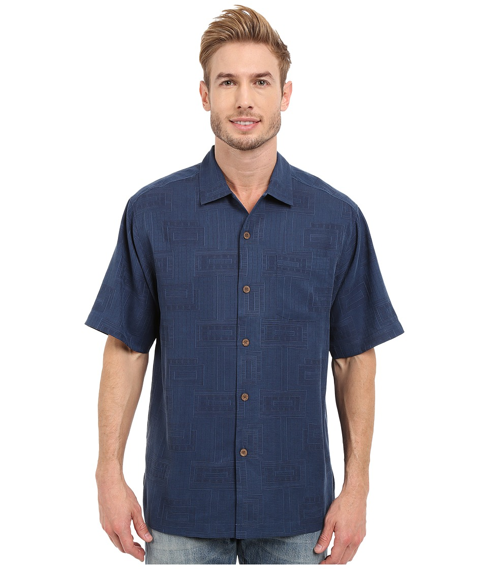 Tommy Bahama - Surfwinds Geo Camp Shirt (Navy) Men's Short Sleeve Button Up