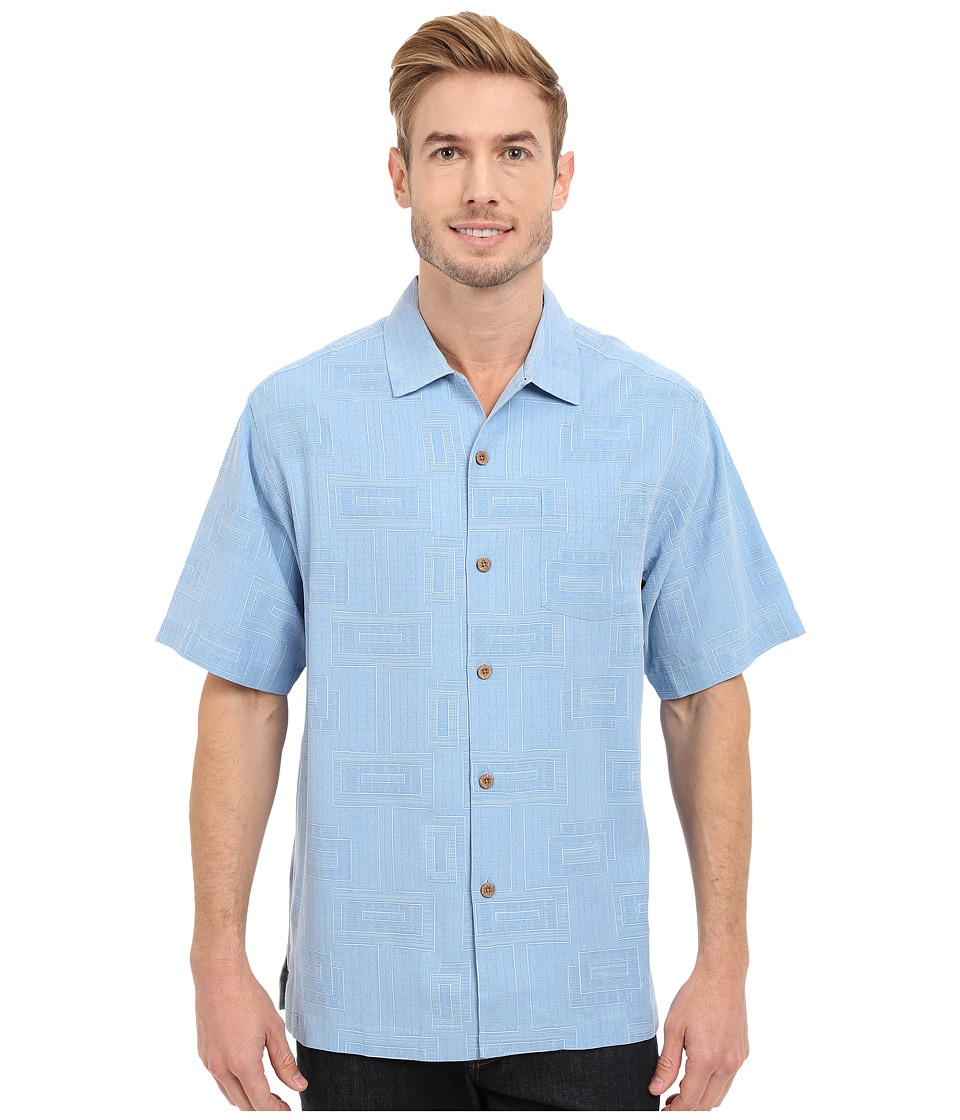 Tommy Bahama - Surfwinds Geo Camp Shirt (Azul) Men's Short Sleeve Button Up