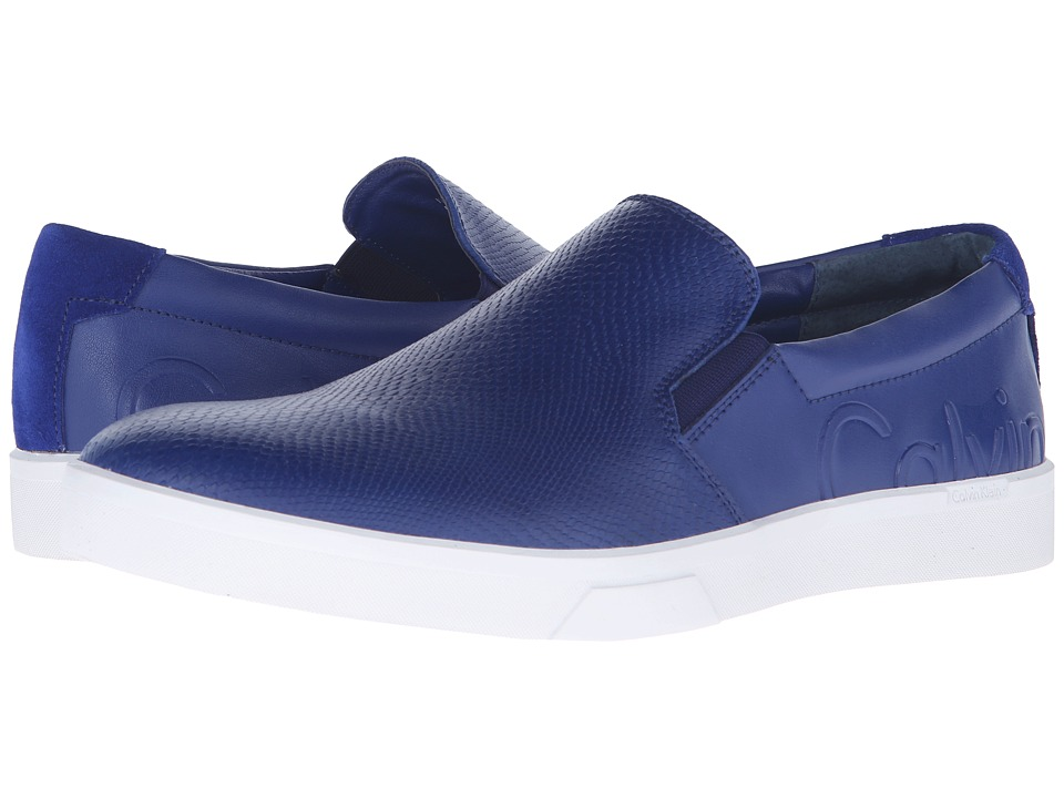 Calvin Klein - Ivo (Dark Blue Leather) Men's Slip on Shoes