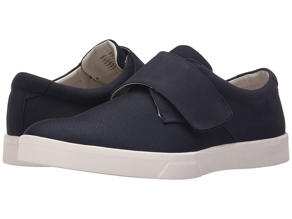 Calvin Klein - Iman (Dark Navy Nubuck/Nylon) Men's Hook and Loop Shoes